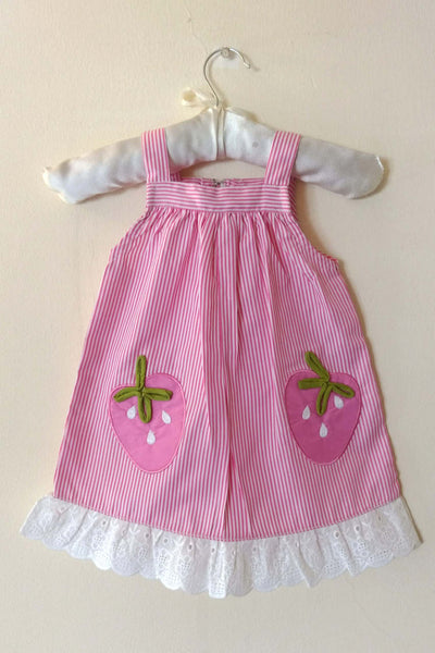Pink Striped  Baby Frock with Fruit Applique