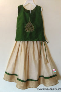Girl's Green Top with Leaf Applique and Tissue Kotta Skirt