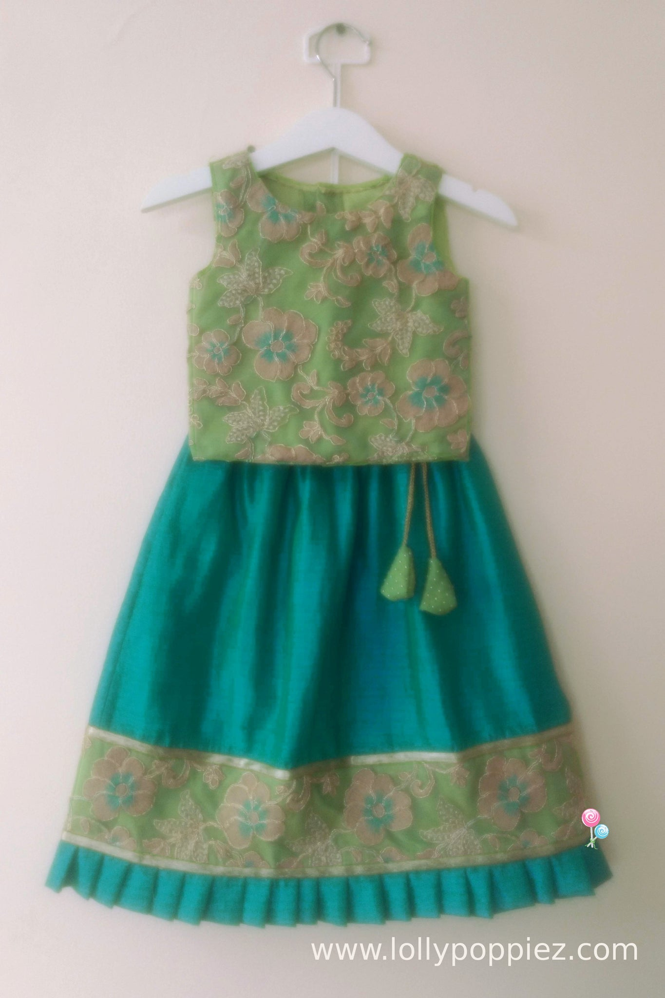 Pista Green Embroideried Top with Peacock Blue Semisilk Pleated Border Skirt(LEW00025A)