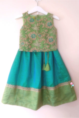 Pista Green Embroideried Top with Peacock Blue Semisilk Skirt (LEW00025B)