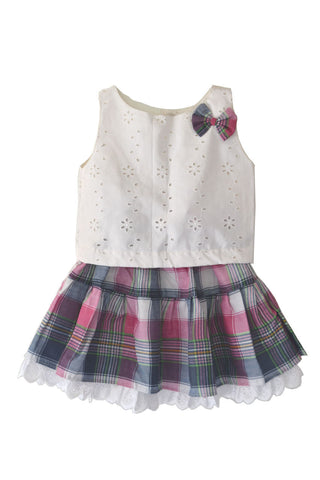 Baby Girls Violet Check Skirt  with White EyeletHole Top