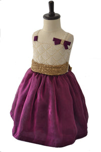 Deep Violet Organza and Cream Thread work Frock
