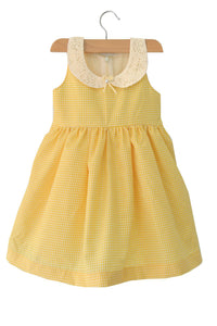 Yellow Check Baby Frock with Peter Pan Lace Collar