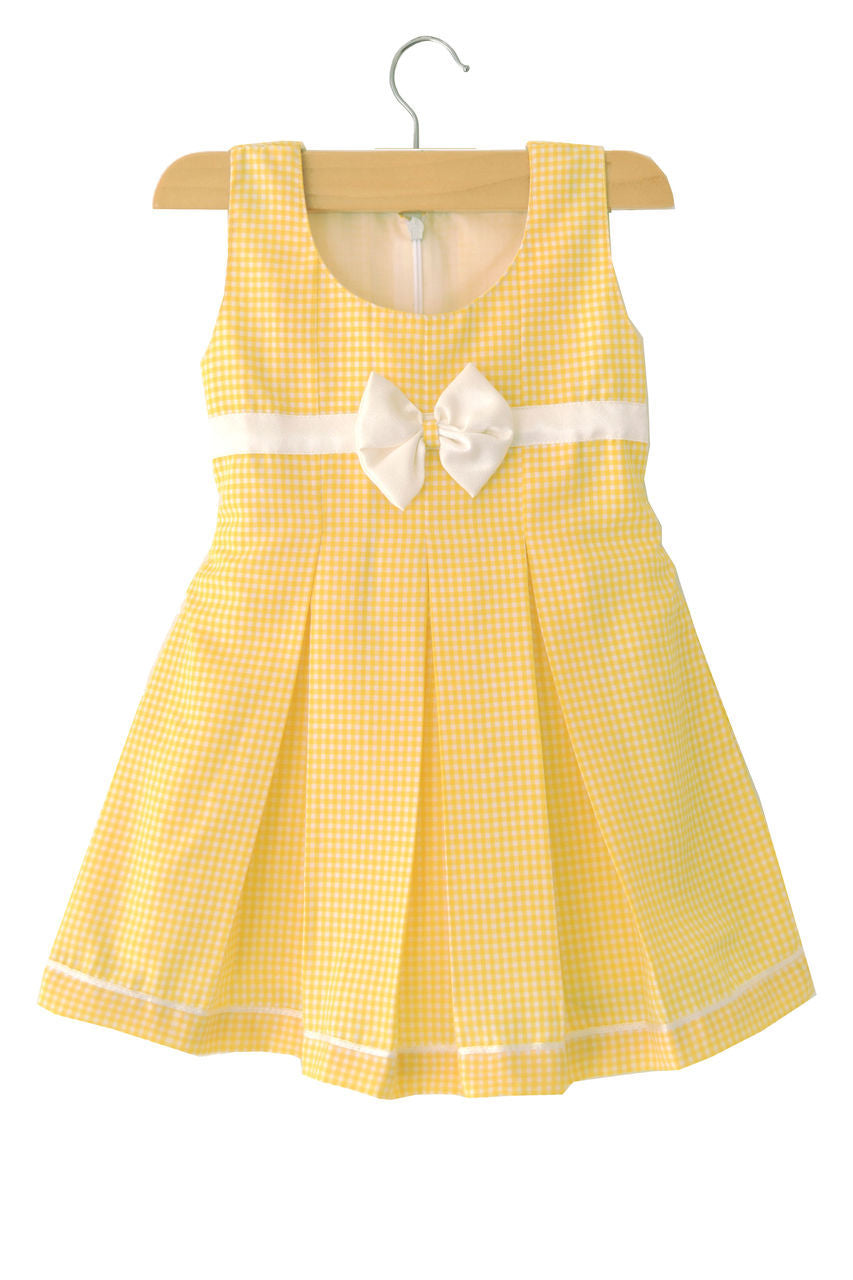 Yellow Check Box Pleated Baby Dress