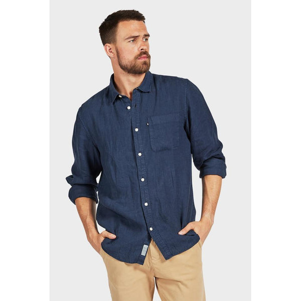 Hampton Linen Shirt Navy - One Palm Studio
