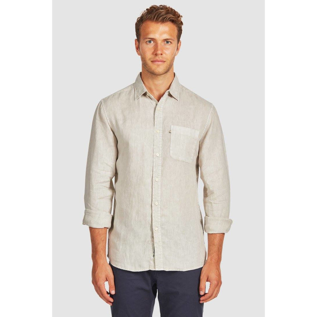 Hampton Linen Shirt Oatmeal - One Palm Studio
