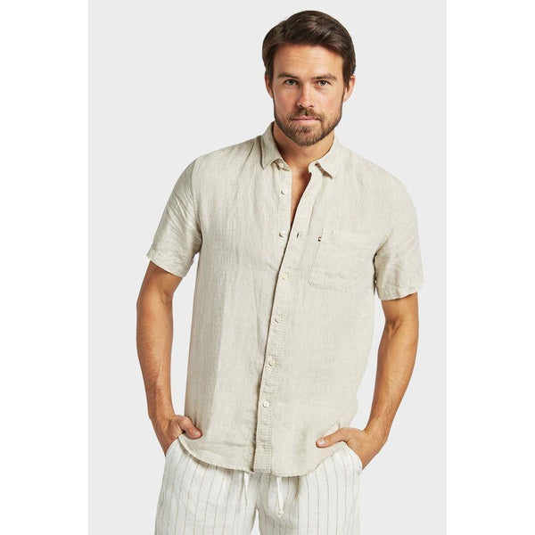 Hampton Linen S/S Shirt Oatmeal - One Palm Studio