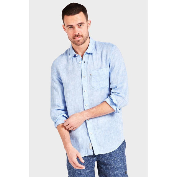 Hampton Linen Shirt Chambray - One Palm Studio