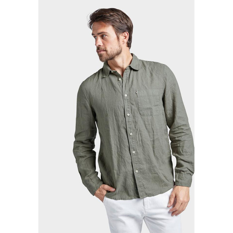 Hampton Linen Shirt Olive - One Palm Studio
