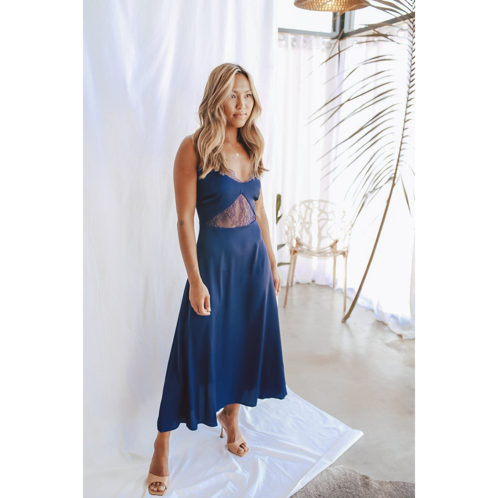 Camille Lace Dress Navy - One Palm Studio