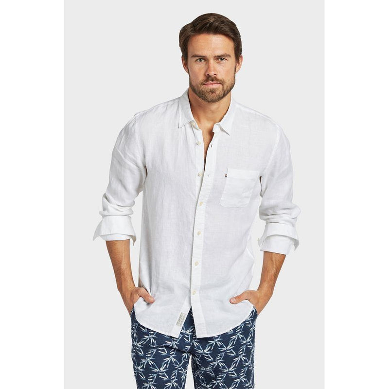 Hampton Linen Shirt White - One Palm Studio