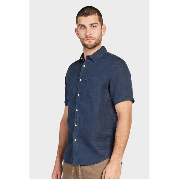 Hampton Linen S/S Shirt Navy - One Palm Studio
