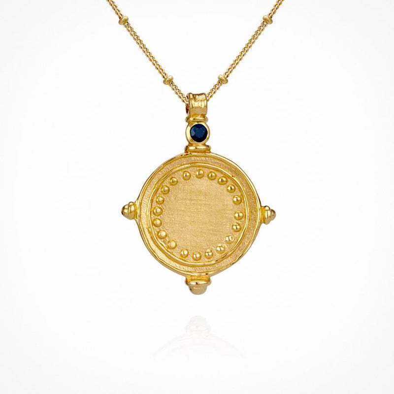 Sura Necklace Gold Sapphire - One Palm Studio