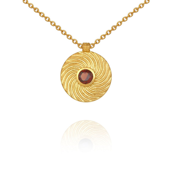 Shine Necklace Gold Garnet - One Palm Studio