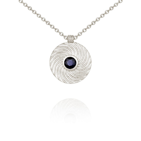 Shine Necklace Silver Sapphire - One Palm Studio