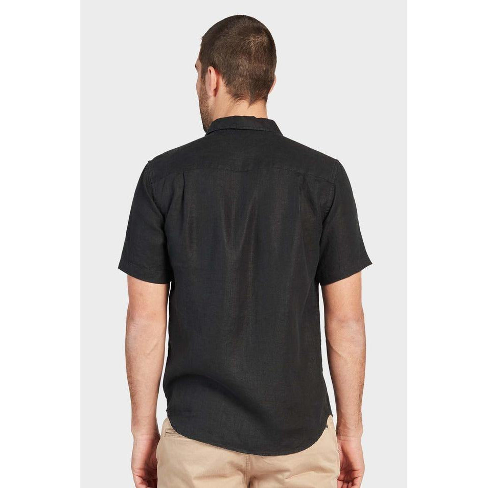 Hampton Linen S/S Shirt Black - One Palm Studio