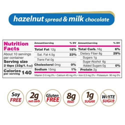 Nutilight Hazelnut Milk Chocolate Spread -312g