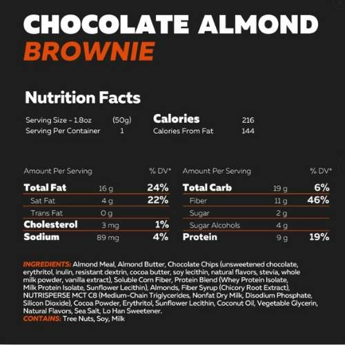 Keto Brownie - Choc Almond Brownie - 50g