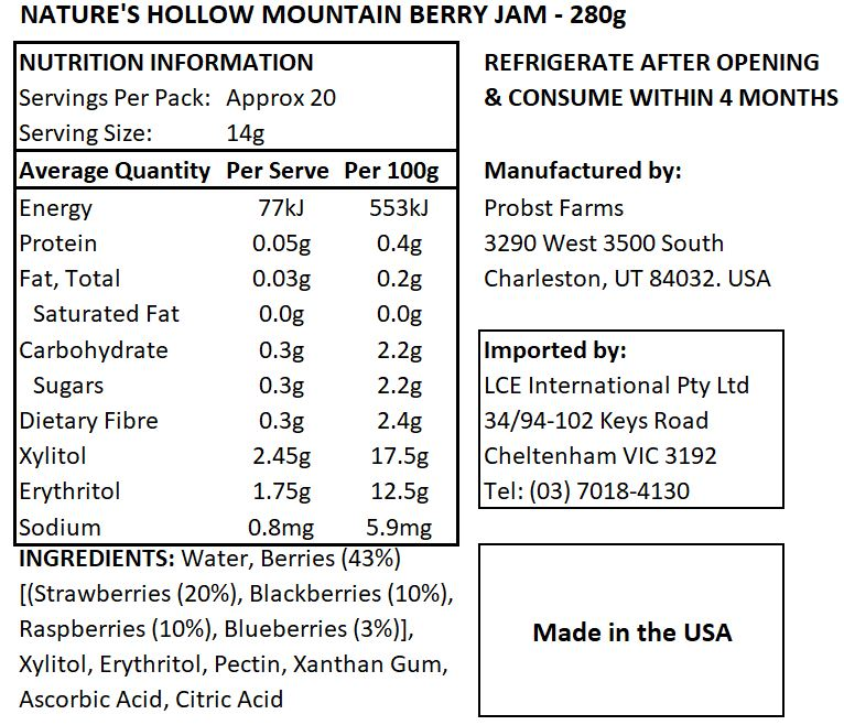 Keto Friendly Mountain Berry Jam - 280gm