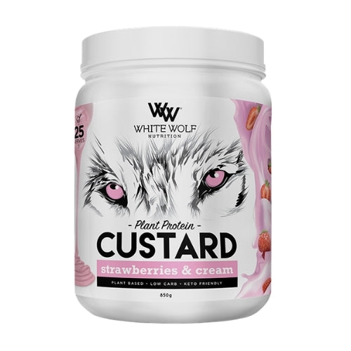 White Wolf Custard Plant Protein Custard Mix - Strawberries & Cream
