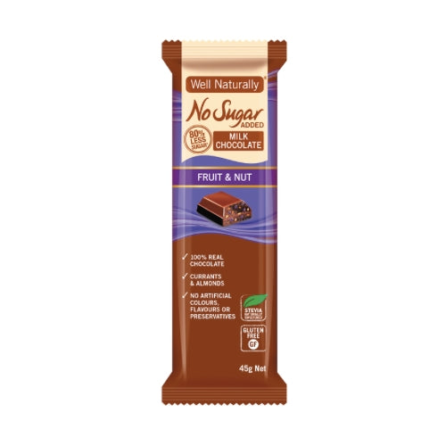 Milk Chocolate - Fruit & Nut - No Sugar Added 45gm