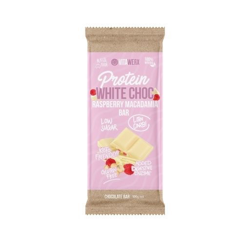 Vitawerx White Chocolate, Raspberry & Macadamia 100gm