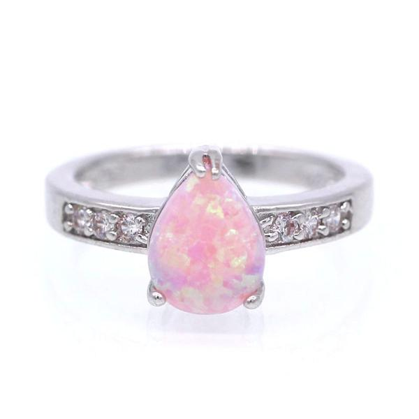 Excellent Fire Opal Wedding Ring For Women Engagement Party Jewelry - DTConner NB26