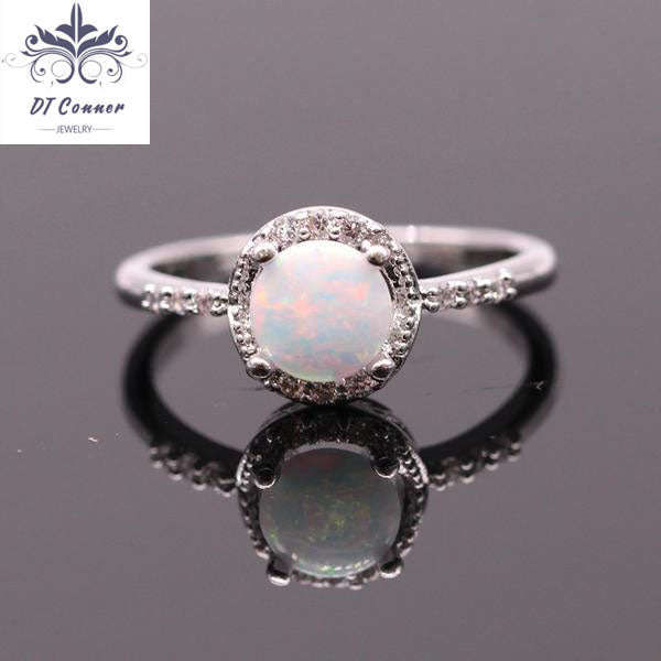 Favorite Popular Luxury Fire Opal Ring White Gold Color Ring - DTConner PM49