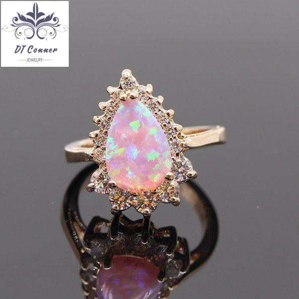 Simple Champagne Gold Color Fire Opal Wedding Ring DTConner