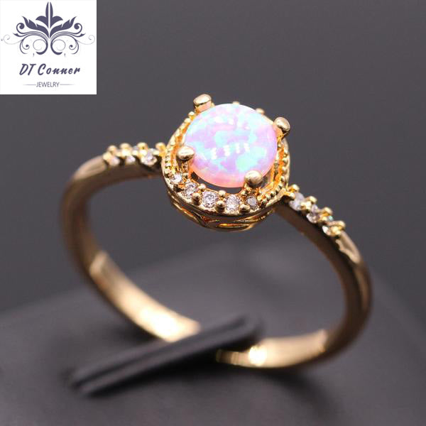 Beautiful Round Fire Opal Wedding Finger Ring Opal Jewelry DTConner