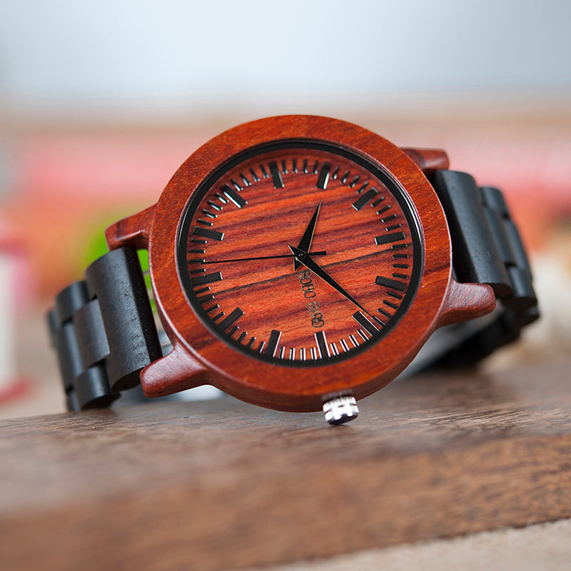 square time bewell men watches band watch wooden shop sandalwood with for red