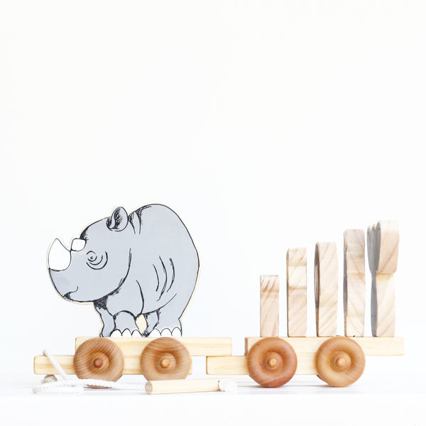 My Little Safari Wagon-Animal-pull-along-Handcrafted-From The Art-rhino-rhinoceros