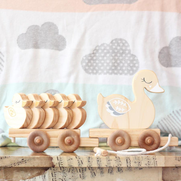 My Little Ducky Wagon-Duck-Pull-along-Handcrafted-From The Art