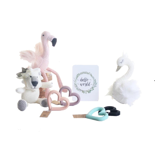from-the-art-toy-shop-adore-love-heart-teether-gift-set-lily-and-george-toys-rattles-lancelot-lion-florence-flamingo-sylvie-swan