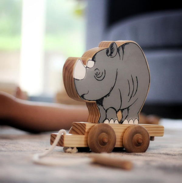 Rhino Travel Buddy-Rhinoceros-pull-along-Handcrafted-From The Art