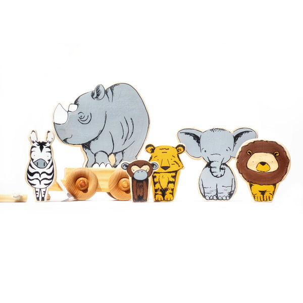 From The Art Toy Shop - Rhino rhinoceros Travel Buddy - pull along toy -safari-zebra- monkey- lion- elephant- tiger