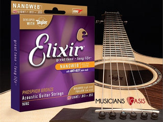 NanoWeb Elixir Premium Guitar Strings (Tone Lasts 3-5x Longer)
