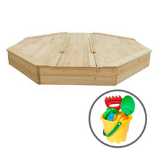 Large Sandpit with Wooden Cover + Bucket Set