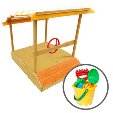 Captain Sandpit with Wooden Cover & Bucket Set