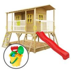 Winchester Cubby House (Red Slide) & Bucket Set