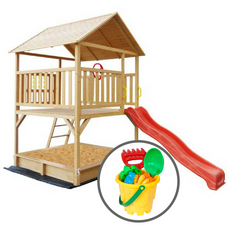 Stanford Cubby House (Red Slide) & Bucket Set