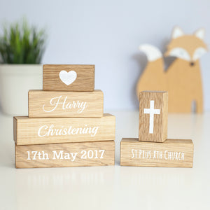 Oak Christening Gift Blocks