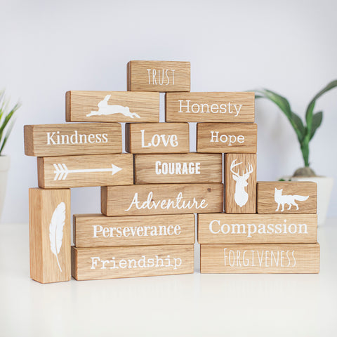 Core Values Oak Block Set