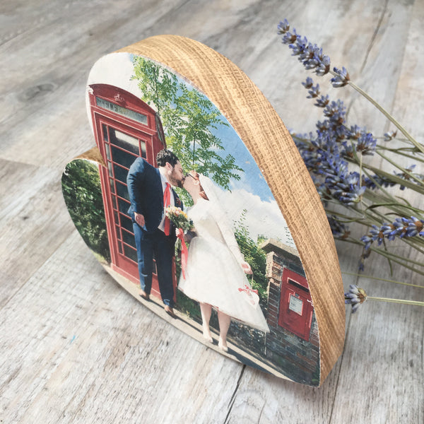Solid Oak Heart Photo Block