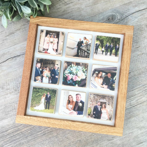 9 Tile Oak Picture Frame