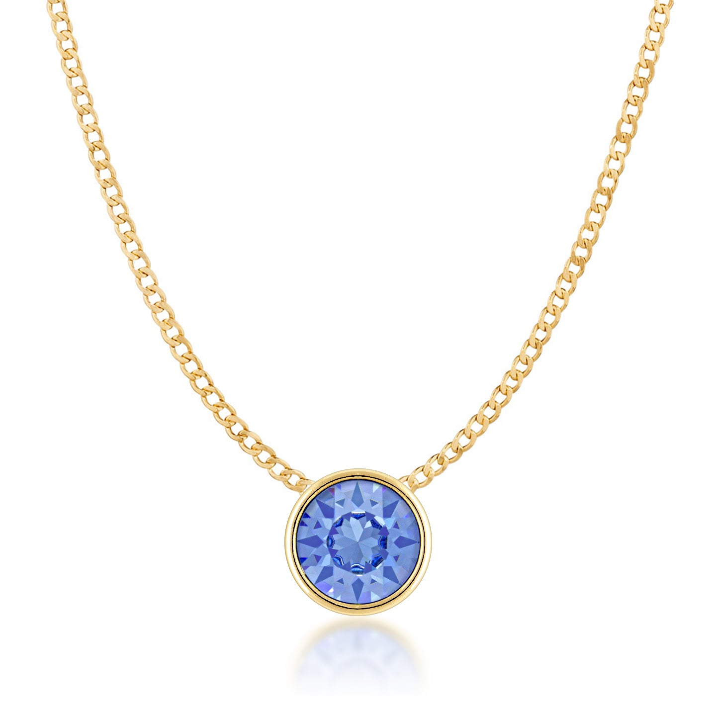 Harley Small Pendant Necklace with Blue Light Sapphire Round Crystals from Swarovski Gold Plated - Ed Heart