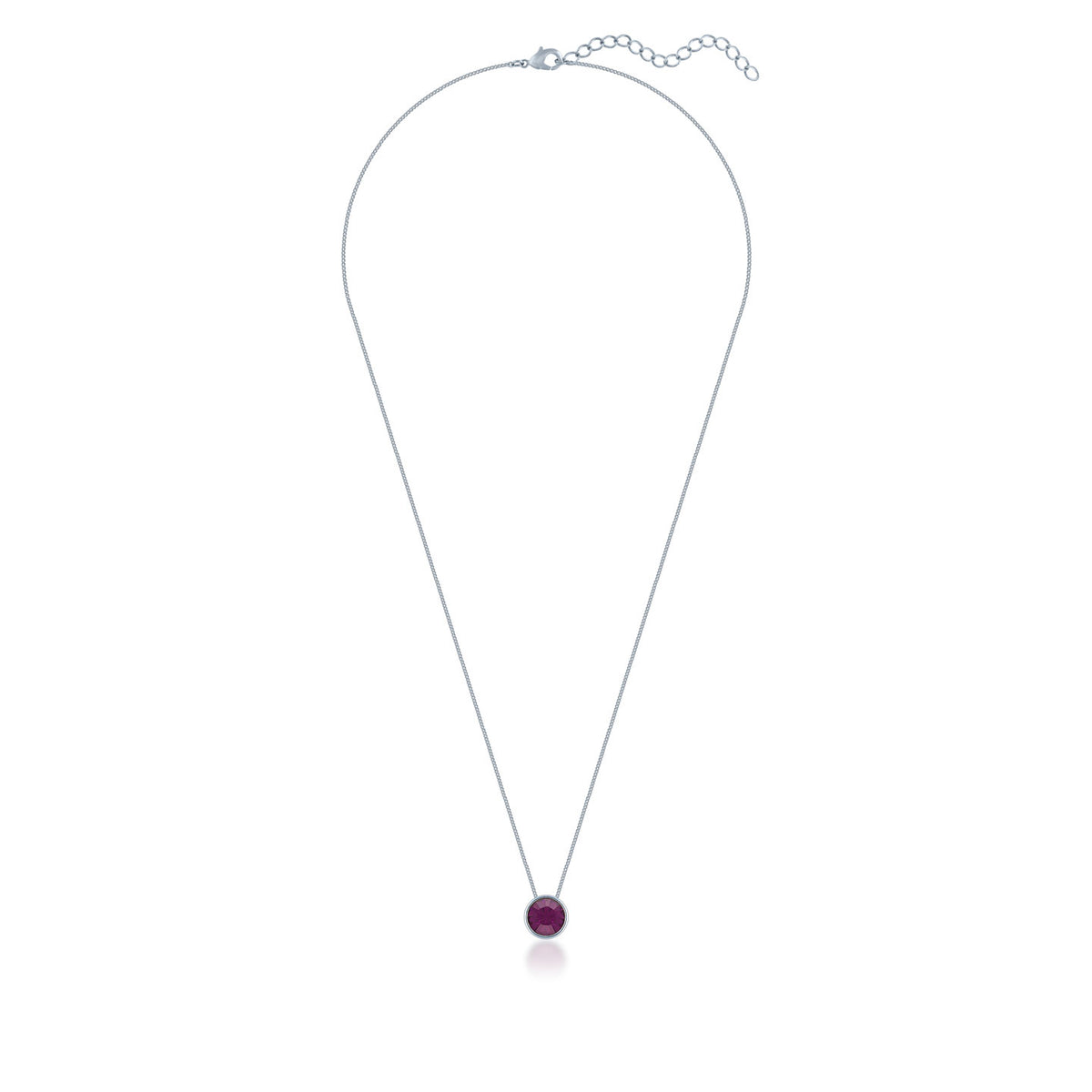 Harley Small Pendant Necklace with Purple Amethyst Round Crystals from Swarovski Silver Toned Rhodium Plated - Ed Heart