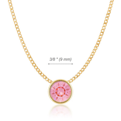 Harley Small Pendant Necklace with Pink Light Rose Round Crystals from Swarovski Gold Plated - Ed Heart