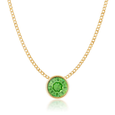 Harley Small Pendant Necklace with Green Peridot Round Crystals from Swarovski Gold Plated - Ed Heart