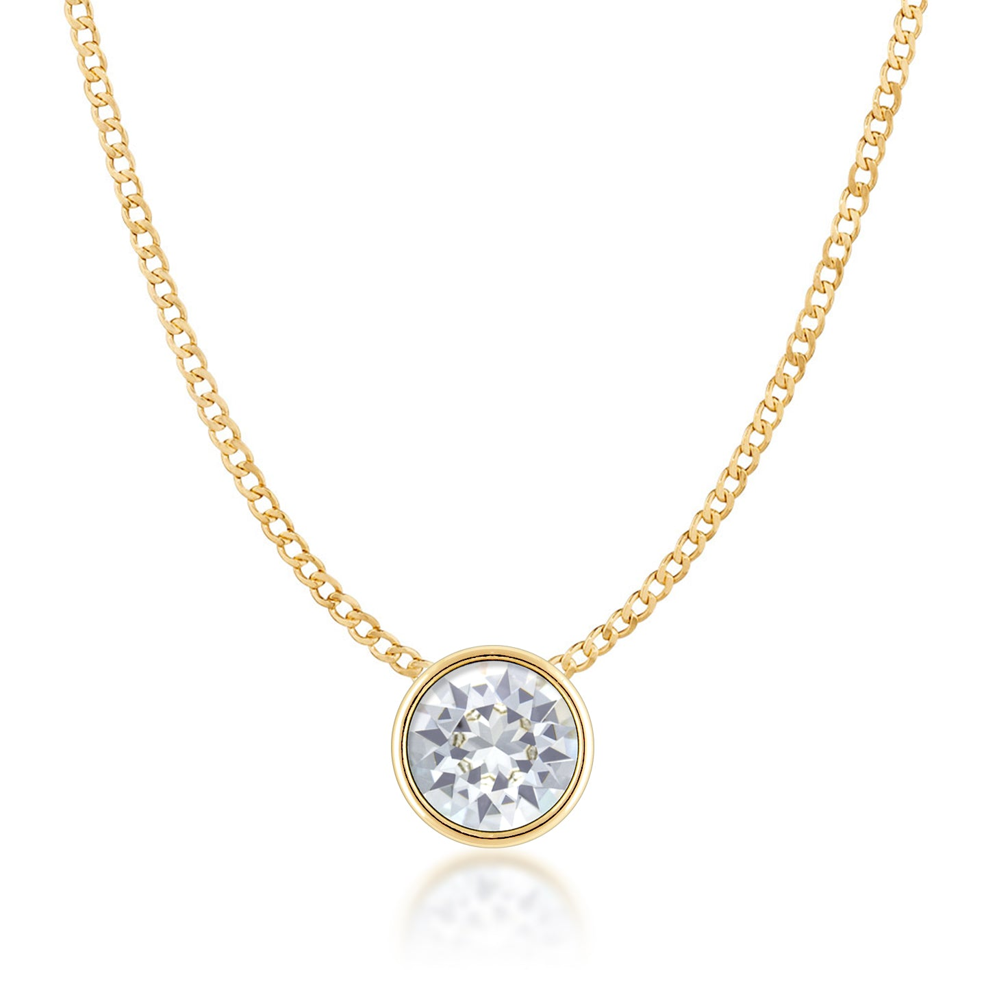 Harley Small Pendant Necklace with White Clear Round Crystals from Swarovski Gold Plated - Ed Heart